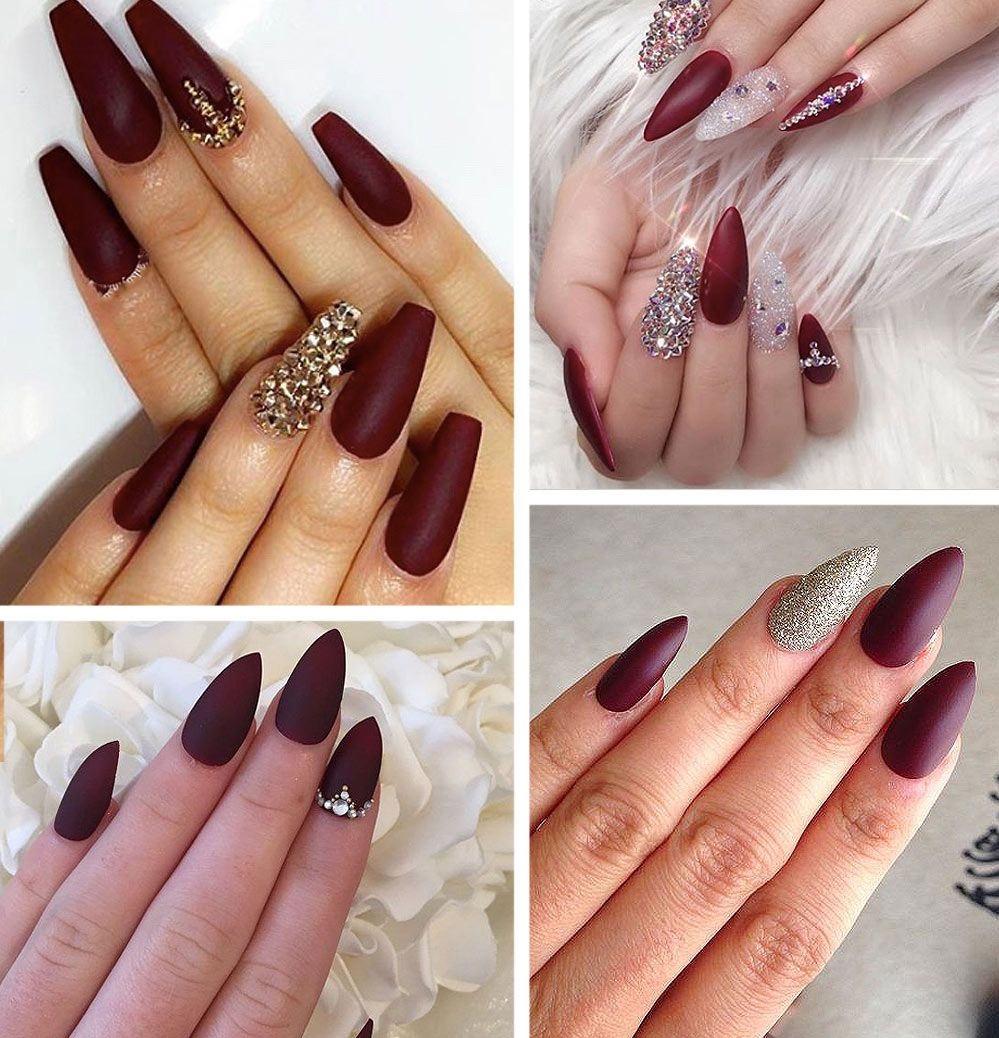 Best Burgundy Nails 45 Nail Designs For Different Shapes Shopping Ideas Burgundy Nails Stiletto Nails Designs Nail Designs