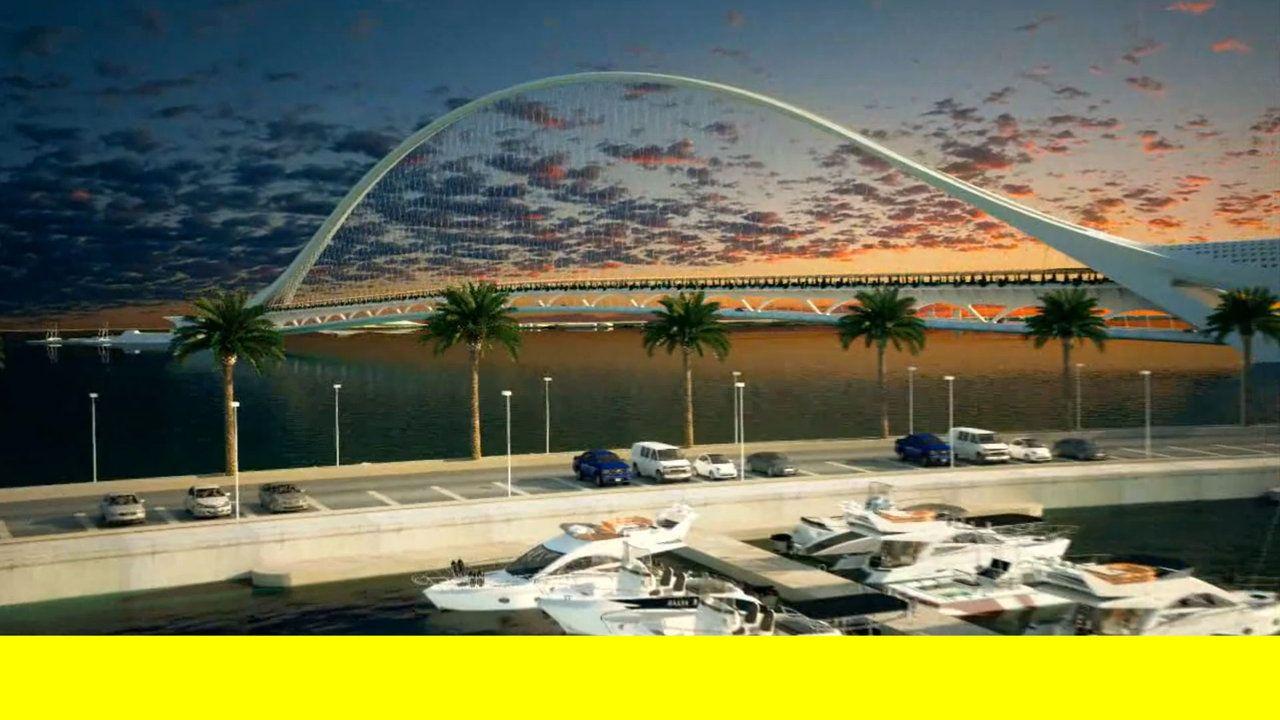 doha sharq crossing by santiago calatrava. the scheme is part of a twelve kilometer series of connections, comprising three bridges linked v...
