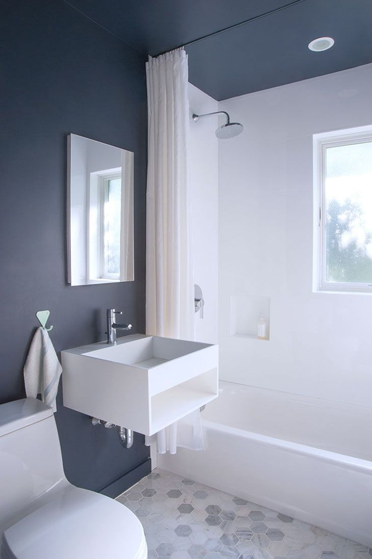 Moody Blue Accent Wall Paired With Marble Hex Tile In Bathroom Beauteous Marble Bathroom Designs Decorating Design