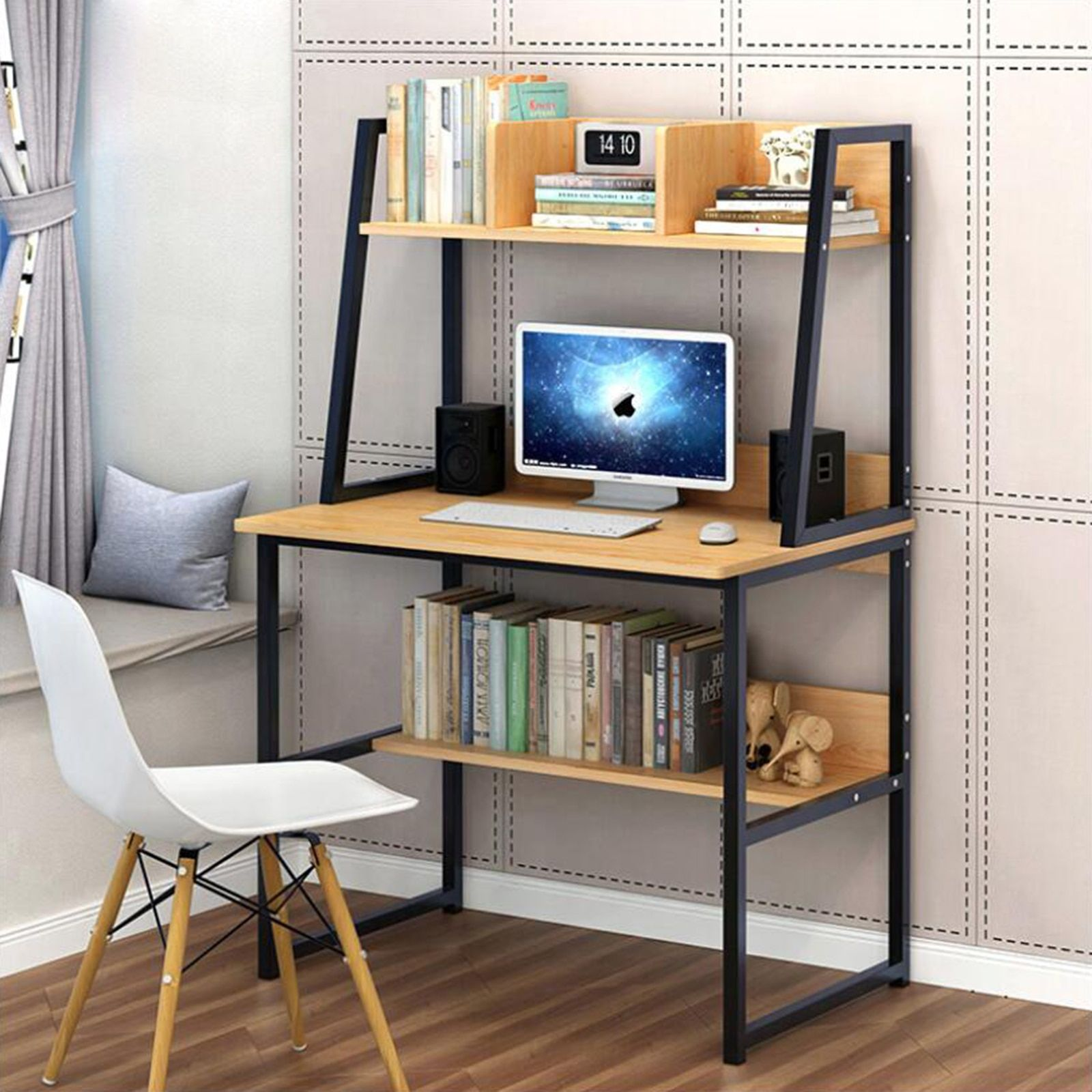 Fast Shipping Modern Computer Desk With Shelves Pc Workstation