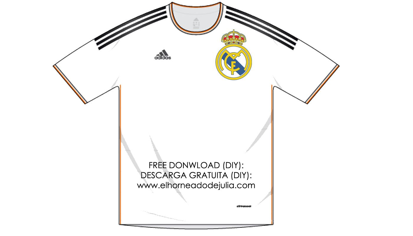 8c52b2e85 Camiseta recortable del Real Madrid para carteles y etiquetas.  Candybar   Mesadechuches  party