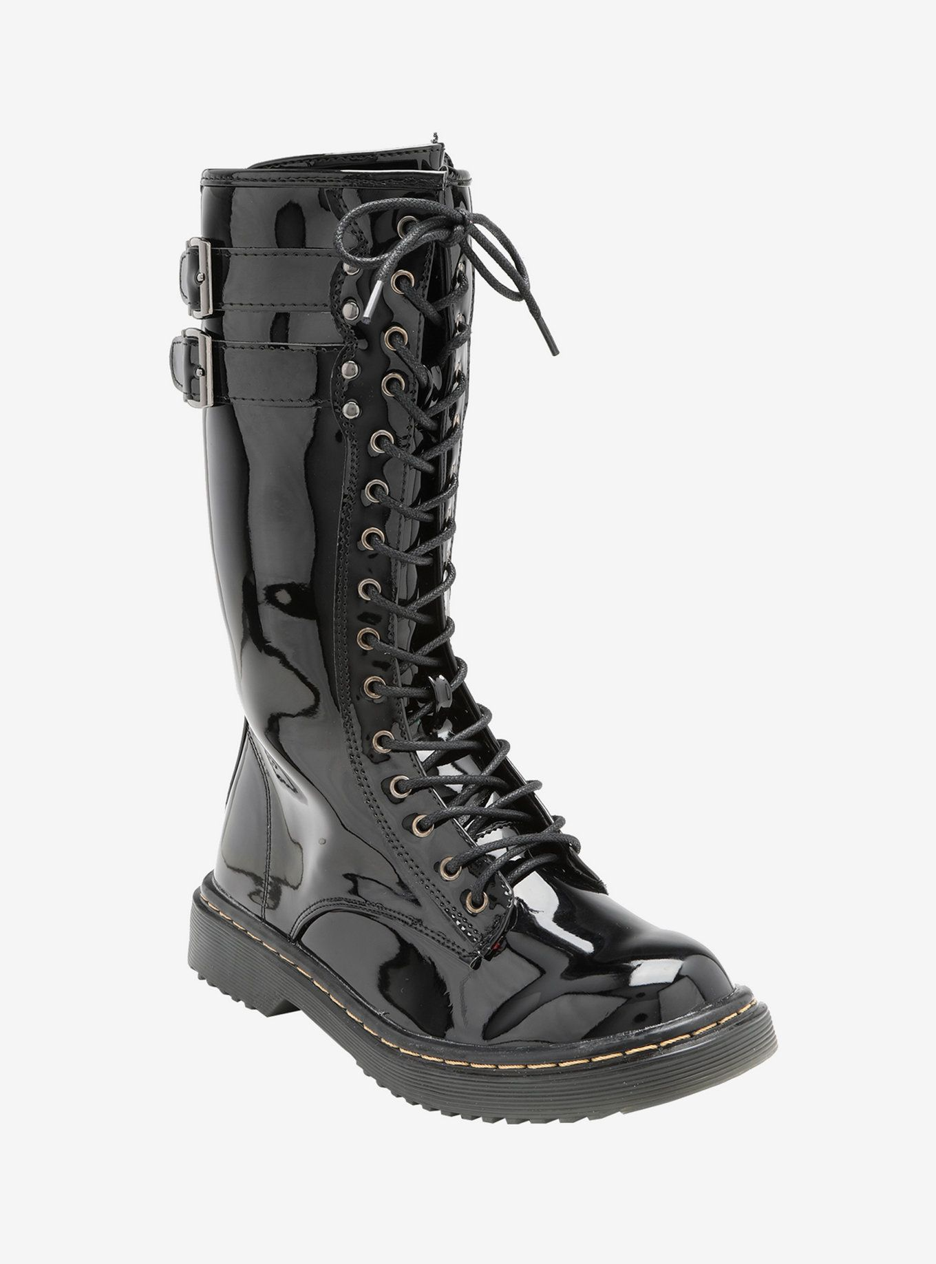 Double buckle shiny pu tall combat boots combat boots