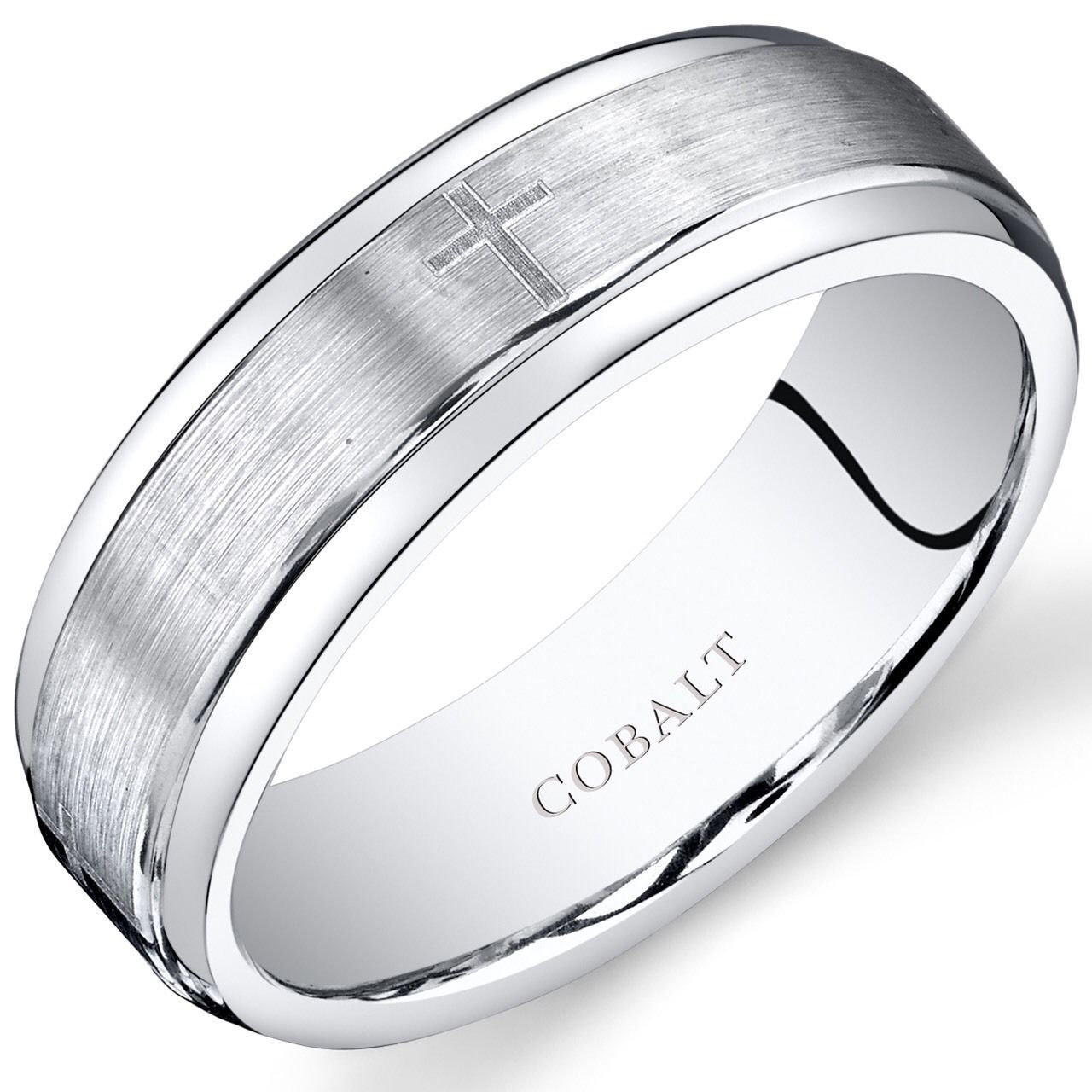 Mens 7mm Cobalt Wedding Band Ring w/ Cross Design and