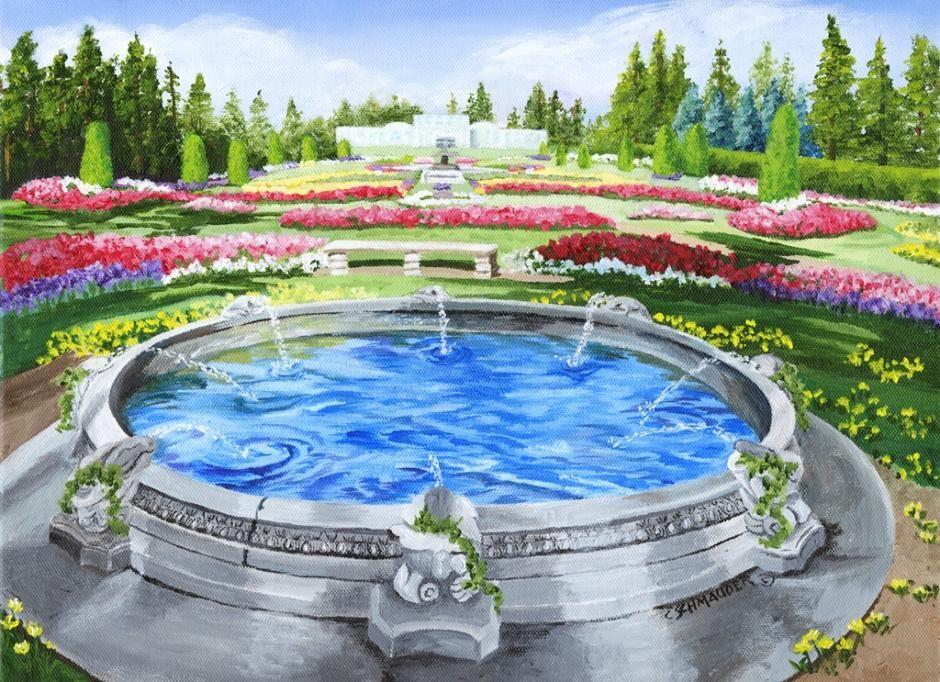 Greek Fountain in Duncan Garden by Carol Schmauder