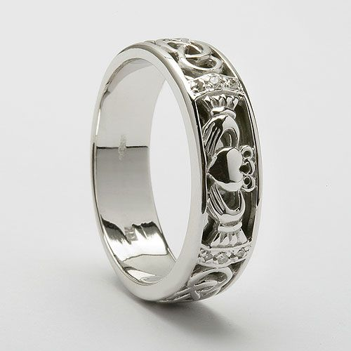 claddagh wedding band white gold with diamonds except i would do yellow - Mens Claddagh Wedding Ring