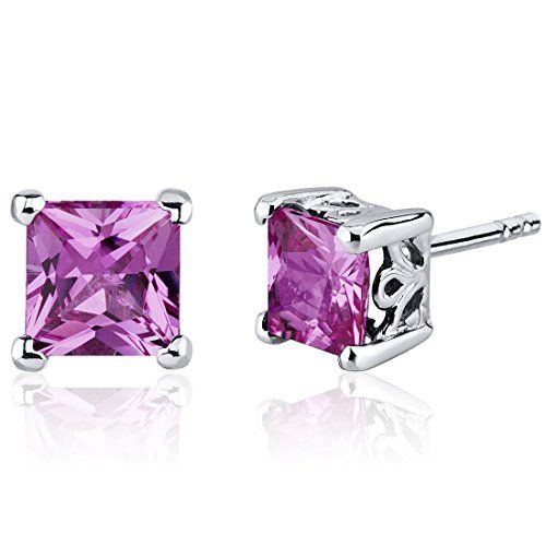 Revoni Basket Style 2.00 Carats Pink Sapphire Oval Cut Stud Earrings in Sterling Silver QuGmjgtAZ