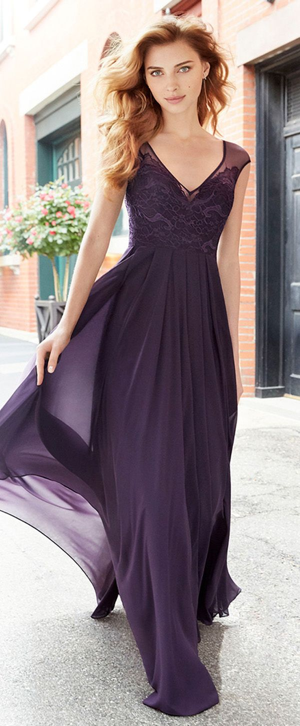 Alluring tulle chiffon v neck neckline cut out full length a deep purple alluring tulle chiffon v neck neckline cut out full length a line ombrellifo Gallery