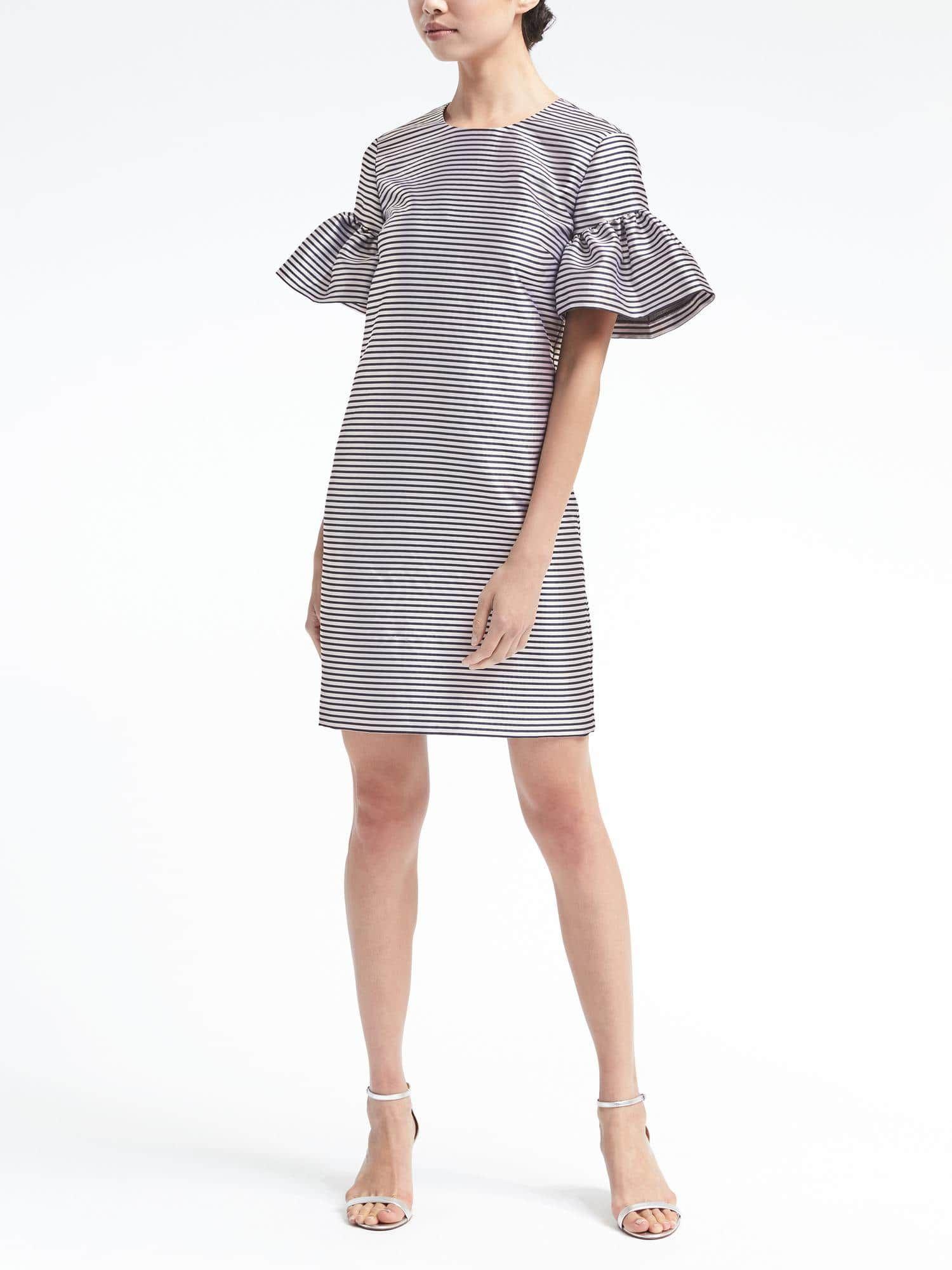 Stripe Ruffle Sleeve Shift Dress Banana Republic Refined Clothing Fashion Workplace Chic [ 2000 x 1500 Pixel ]