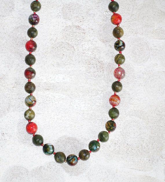 Red Green gemstones necklace, Forest green natural stones summer necklace, dark emerald green, Red Green gemstones #Necklace #gemstones #etsyfinds #handmade #etsylove #fashionista https://www.etsy.com/listing/462707929/red-green-gemstones-necklace-forest