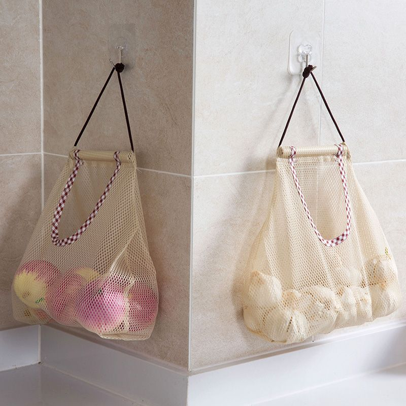 4ef5e6be912 1pc Reusable Hanging Storage Mesh Bag Vegetable Fruit Garlic Potatoes  Onions Garbage Trash Bag Shopping Organizer kitchen Bath-in Bags & Baskets  from Home ...