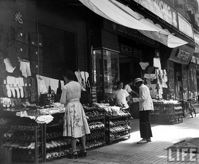 retro retail stores saigon 1948 natives shopping at local vendors in 1948