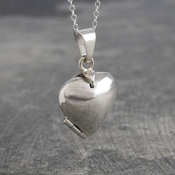 6483dcb1d2ed52 Otis Jaxon Silver Jewellery Chunky Heart Sterling Silver Locket... ($85) ❤  liked on Polyvore featuring jewelry, chunky sterling silver jewelry, ...