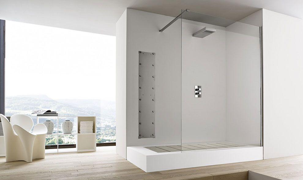 Vesco unico douche met uitneembare plankenvloer die in een bad