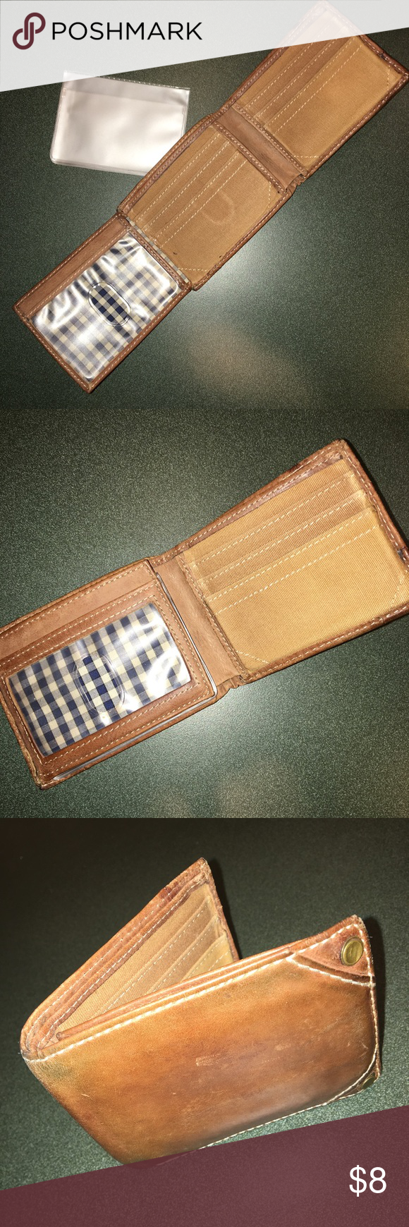 Men's TriFold Wallet light brown Tri Fold Wallet. Plaid flannel and Light brown! Check out pics. Pet & Smoke Free Home Always! Thanks for looking, liking, and sharing. Offers welcome! Steve Madden Accessories