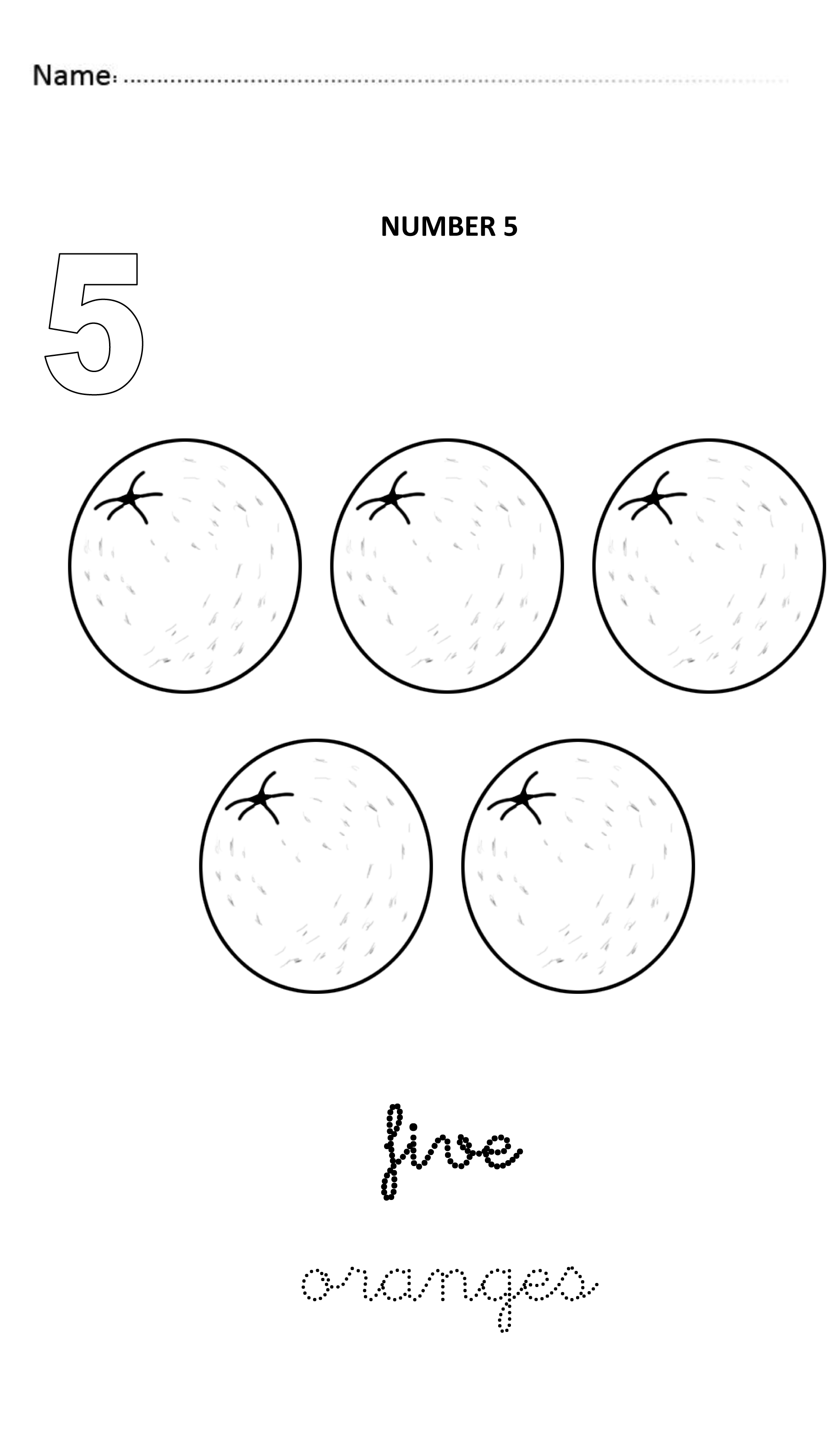 Number 5 Easy And Visual Worksheet To Teach Numbers For
