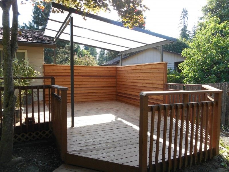 Acrylite Patio Cover With Privacy Screen Deck Masters Llc Portland Or