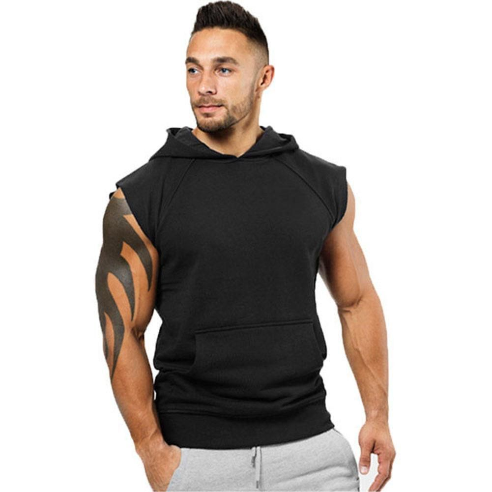 Mens Zipper Workout Sleeveless Shirt Sleeveless Performance Hoodie Casual Waistcoat Top Hooded Tank Top Fashion Clothing
