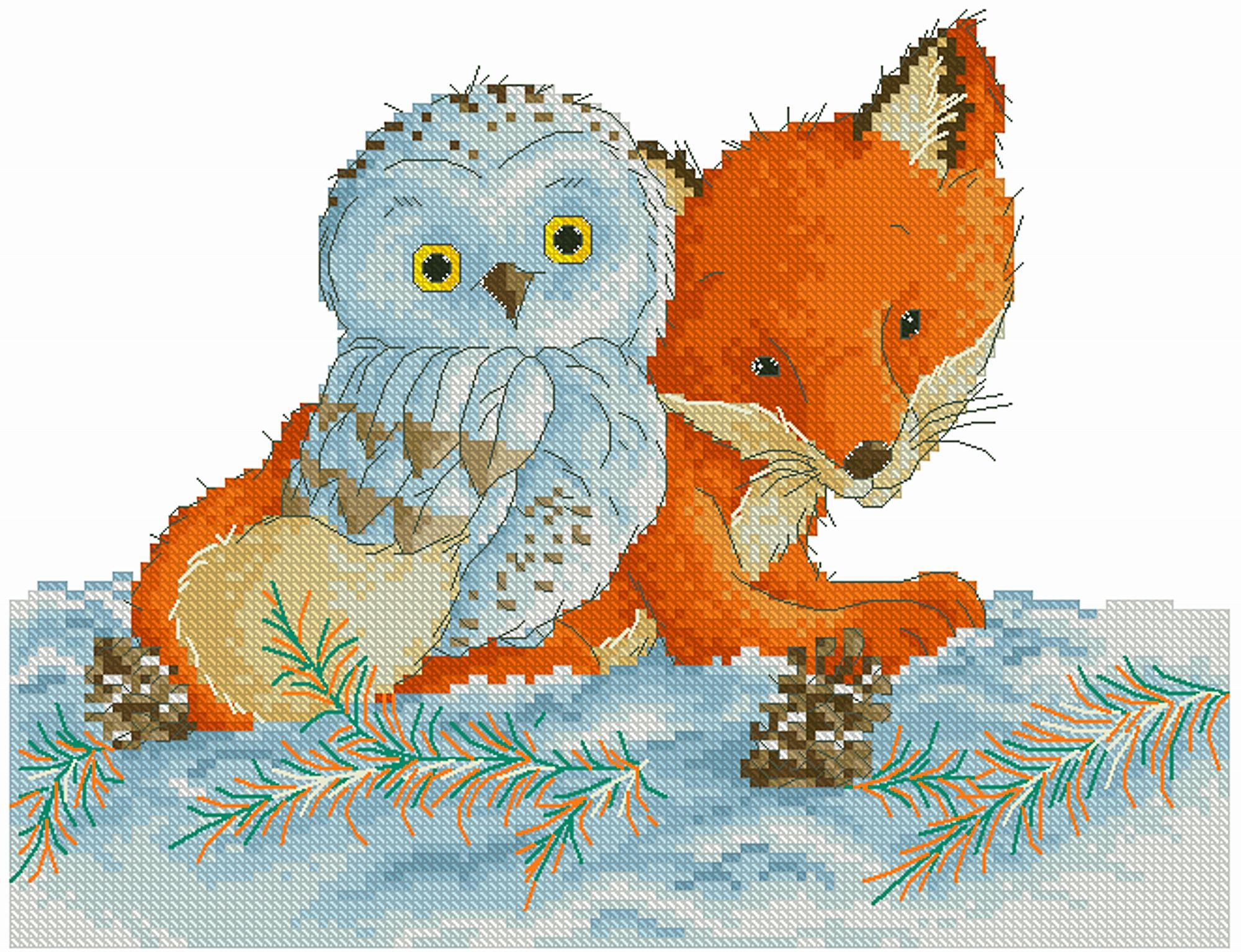 Owl and fox, Cross Stitch Pattern, PDF Instant Download