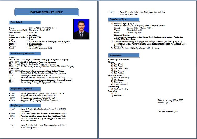 Format Resume Yang Terbaik Riwayat Hidup Cv Kreatif Hidup