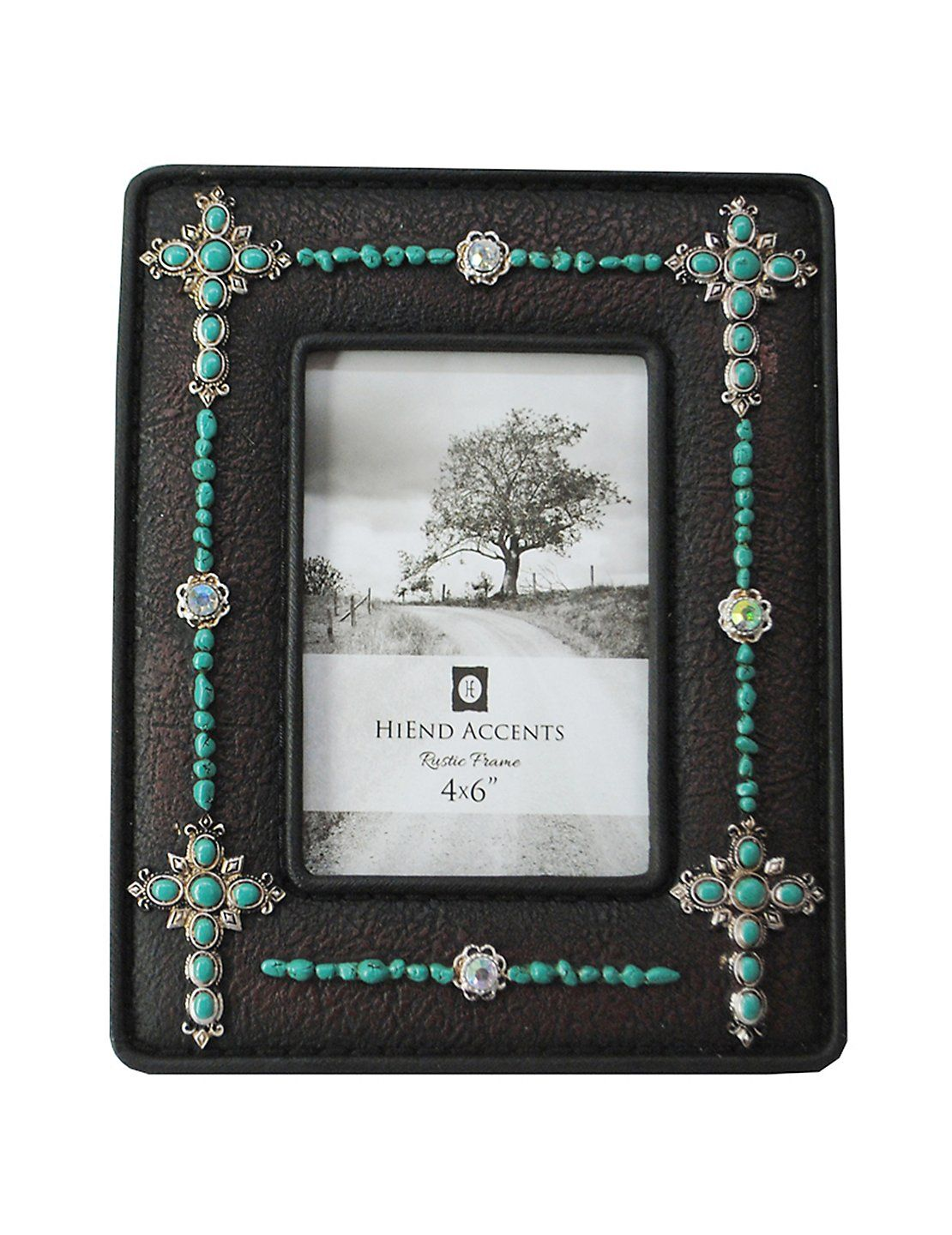 HiEnd Accents 4X6 Turquoise Beaded Crosses Jeweled Picture Frame ...