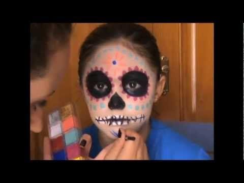 Maquillaje Halloween para niños - Calavera Mexicana Dia de los - maquillaje de halloween para nios