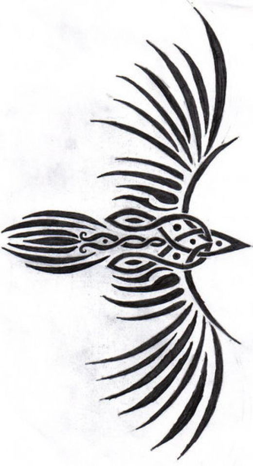 472821fd357a2 celtic raven Symbols   Pagan Tattoo Designs Reminds me of my tribal phoenix  It would pair well too. :)