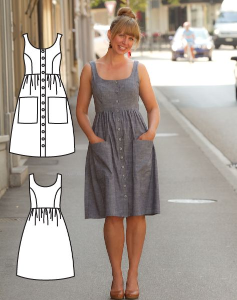 Robe boutonnée – Patron de robe mi-longue   – dikiş