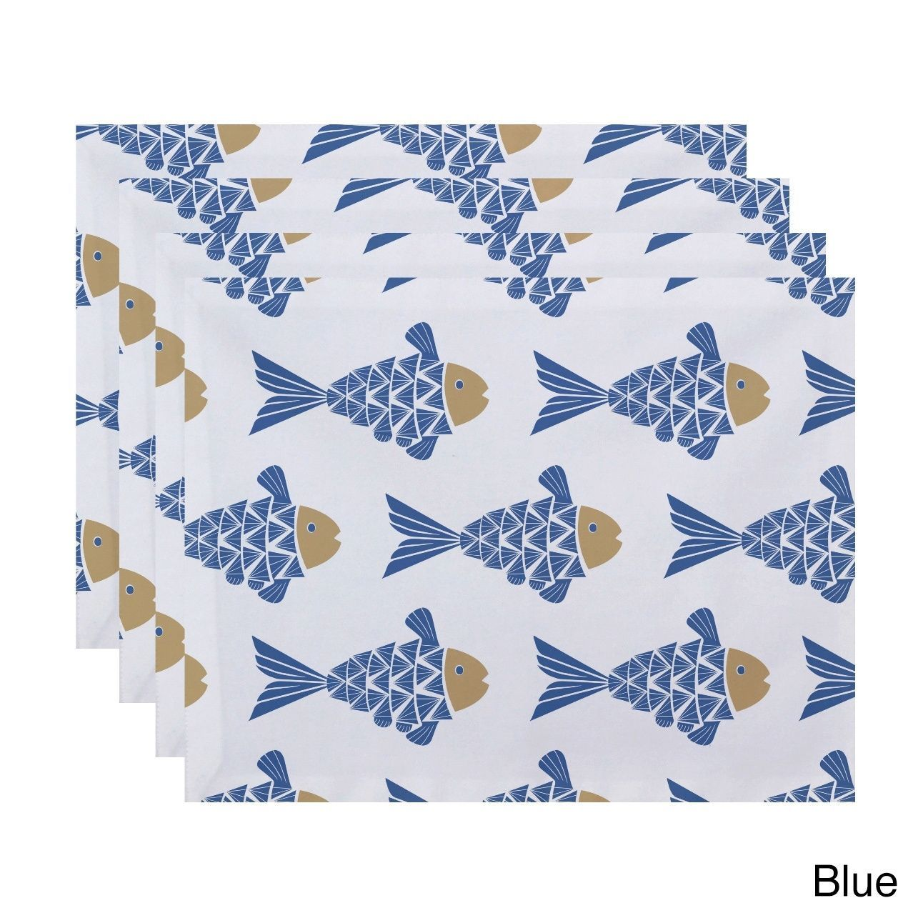 E by Design Fish Tales Animal Print Placemats (Set of 4) (Blue)