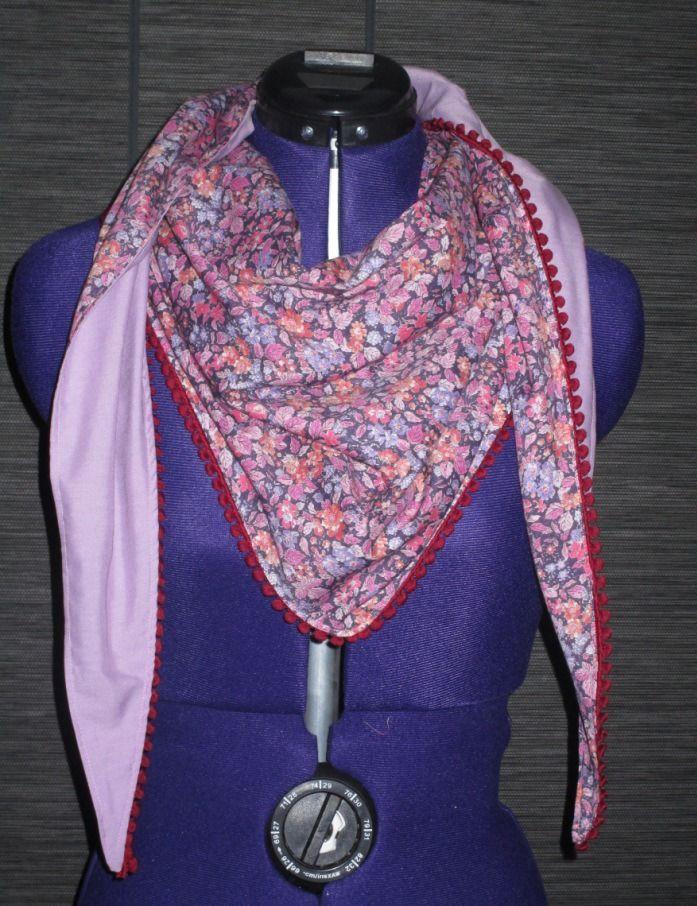 521e20dd3949 chèche foulard femme en coton liberty fleuri rose violet avec galon pompon  prune   Echarpe, foulard, cravate par missblue