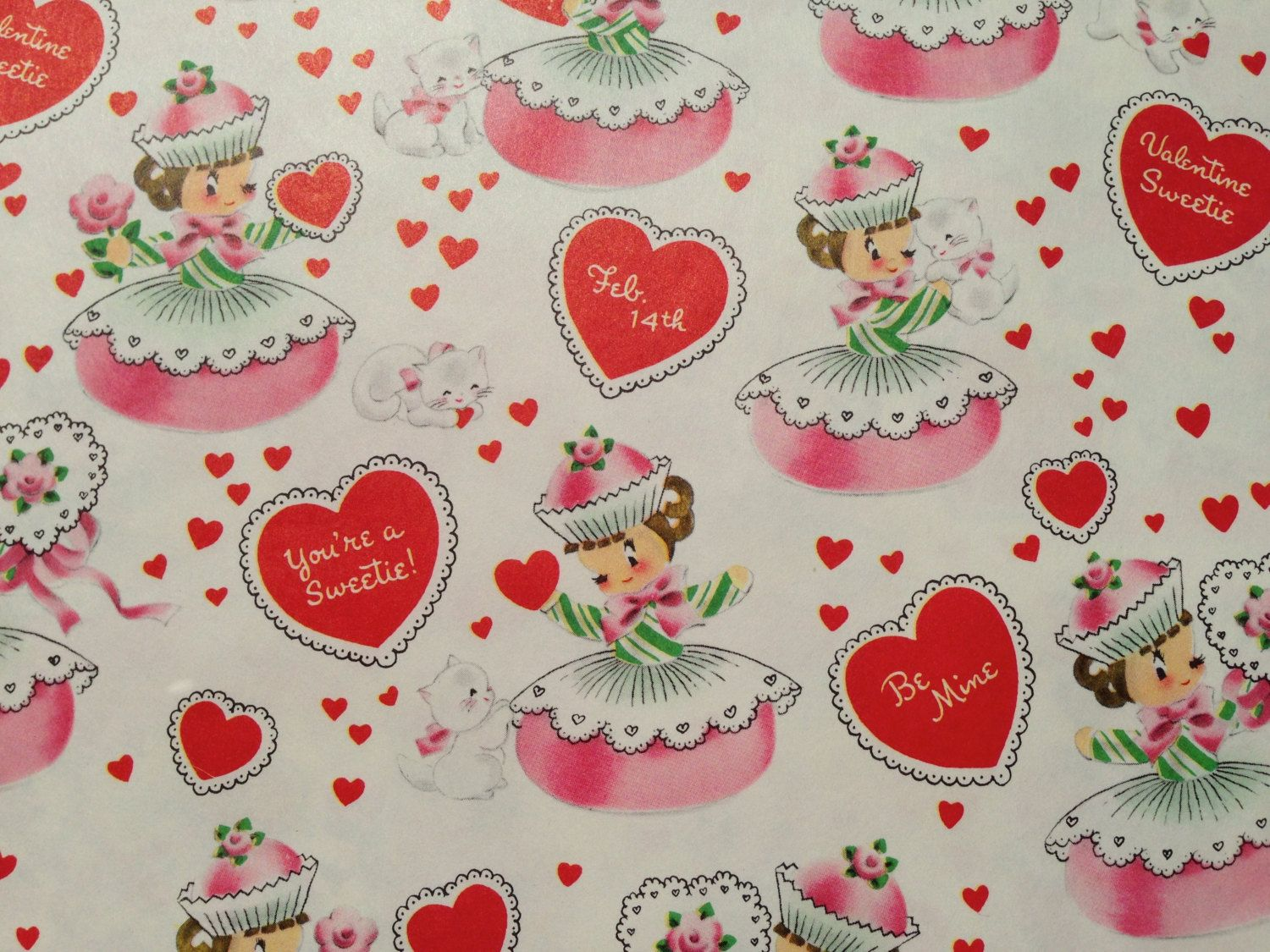 vintage gift wrapping paper valentines day cupcake girls and white cat valentine sweetie by norcross 1 unused full sheet gift wrap - Valentines Day Wrapping Paper