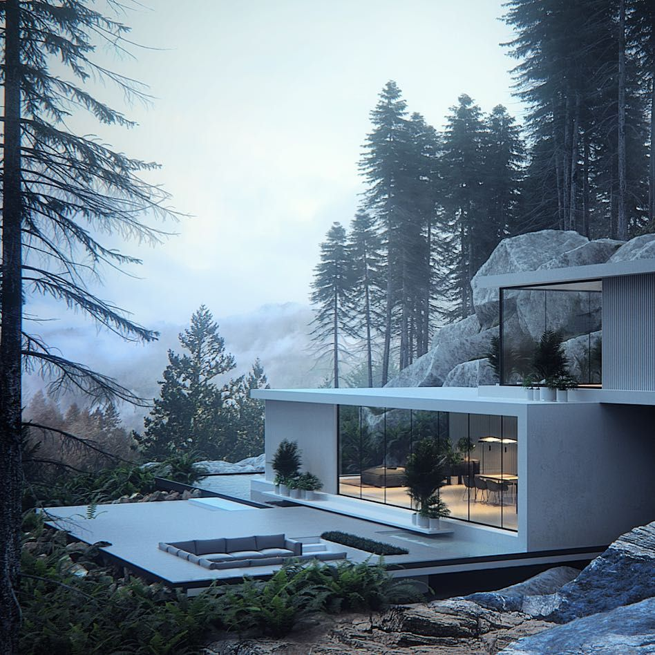 Architecture fitting into the environment. 💚 #d_signers The House in the Pinewood by Roman Kupriyan. _____ Location: Wyoming, #USA ______ #design #designer #instahome #instadesign #architect #beautiful #home #homedesign #art #architecture #exterior #interior #luxury #lighting #facade #trees #follow #kitchen #nature #concrete