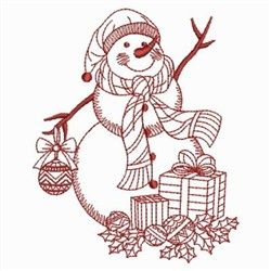 Redwork Holiday Snowman embroidery design