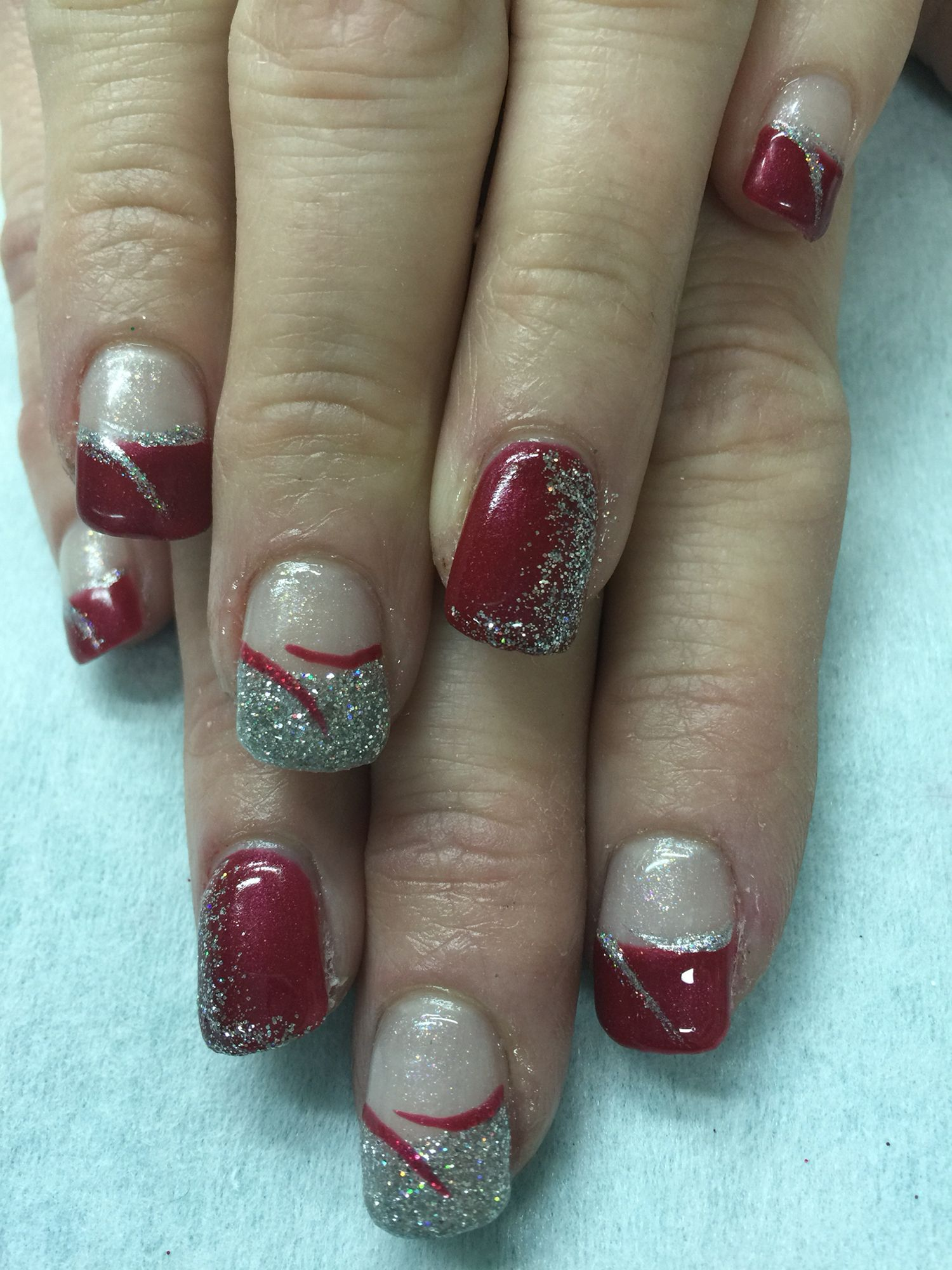 Cranberry & Silver glitter Christmas hard gel nails. All done with ...