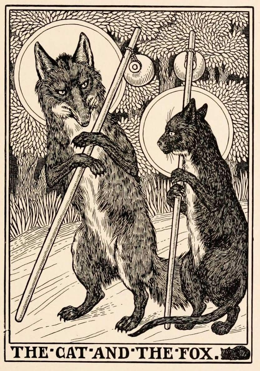 Percy James Billinghurst 1871 1933 A Hundred Fables Of La Fontaine By Jean De La Fontaine 1901 Fox Illustration Cat Illustration French Illustration