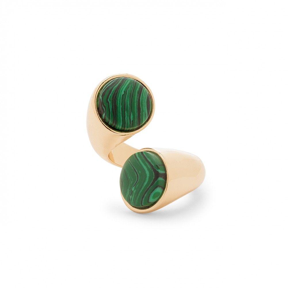 modern stone statement ring - Gold