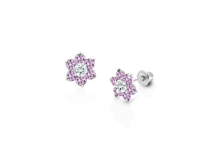 2161f3635 June Birthstone - Starlight Flower Baby/Children's CZ Earrings, Screw Back  - 14K White Gold - 14K White Gold Earrings - Earrings - Children's & Baby  Jewelry