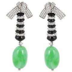 Patrick Mauboussin 32.56 Carat Jade Onyx Diamond White Gold Earrings