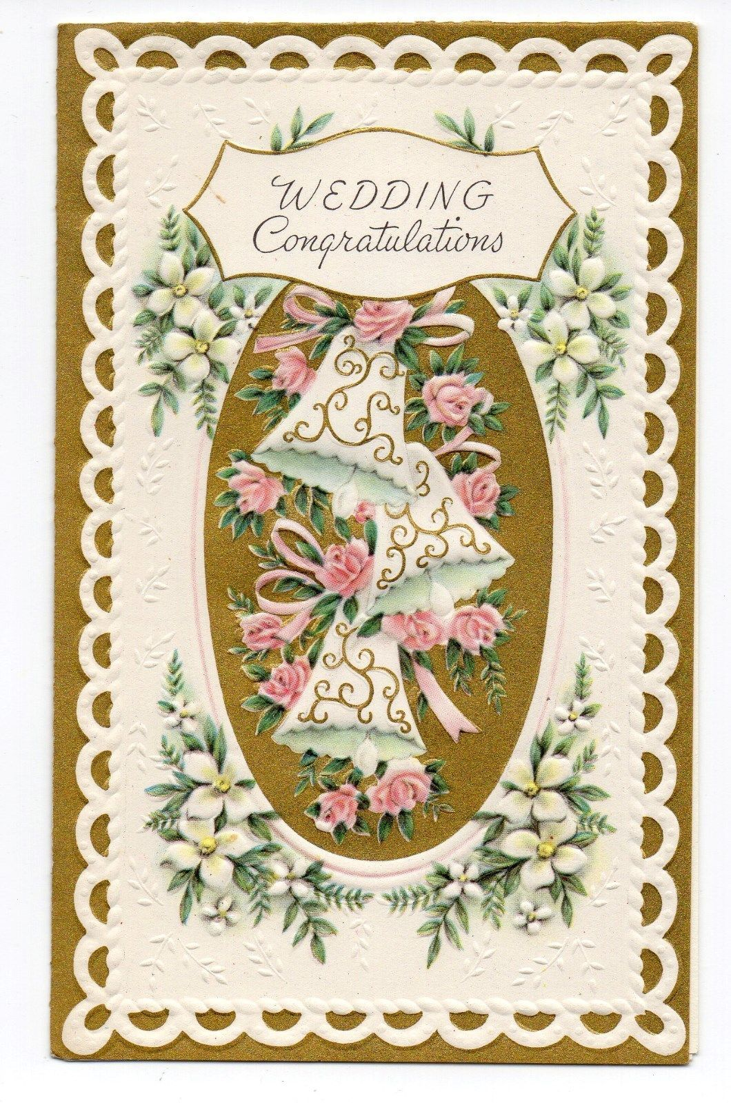 Vintage Gatto Wedding Greeting Card Wedding Bells Flowers Ebay