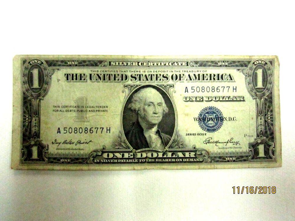 1935 E $1.00 ONE DOLLAR BLUE SEAL SILVER CERTIFICATE CU CHOICE UNCIRCULATED!!