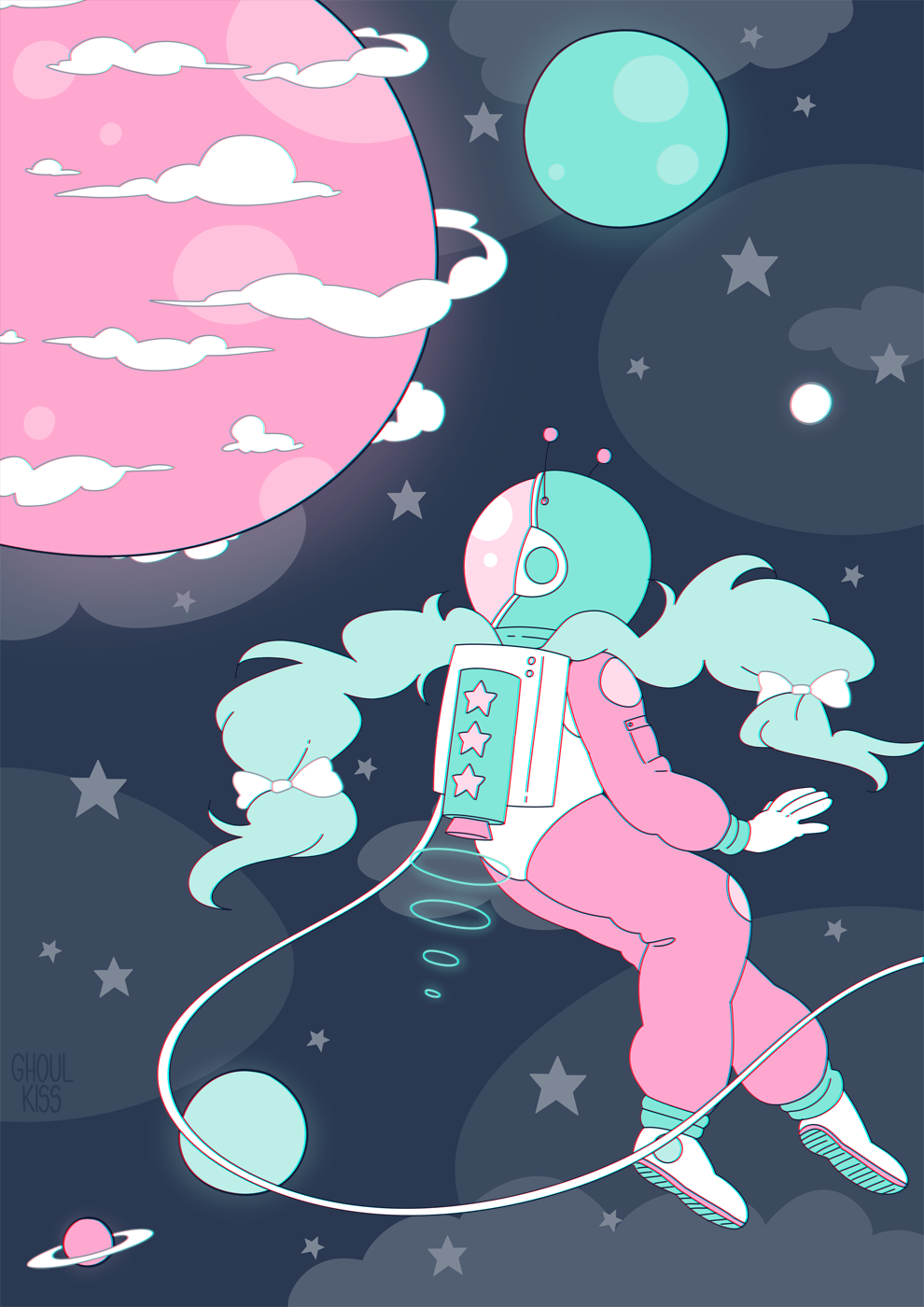 This Beautiful Space Girl Illustration Makes My Heart Sing Cute Art Space Girl Pastel Art