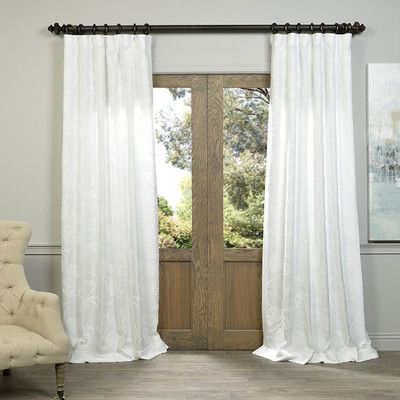 "Alcott Hill Styers Embroidered Thermal Single Curtain Panel Color: White, Size: 50"" W x 96"" L"