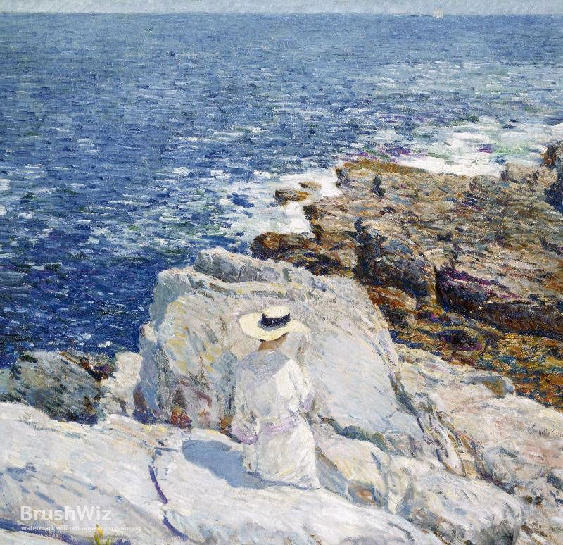 The South Ledges Appledore by Childe Hassam - Oil Painting Reproduction - BrushWiz.com