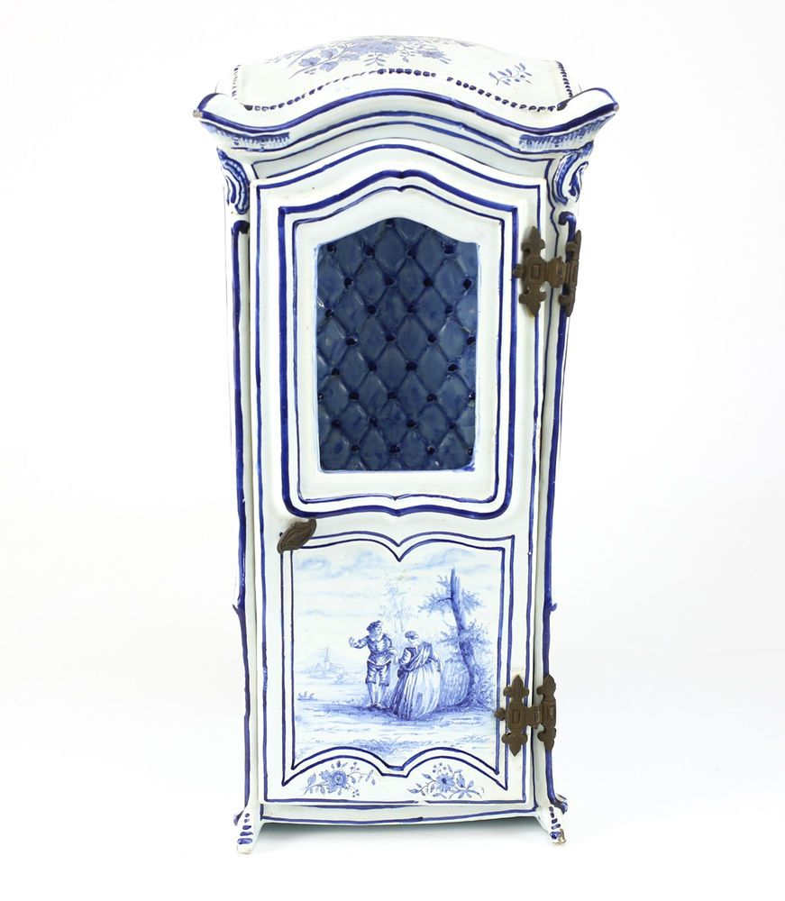 Delft Dutch Hand Painted Pottery Miniature Sedan Chair, Early 19th Century #Delft
