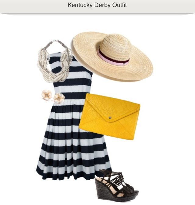 Kentucky Derby outfit with striped dress, hat and yellow clutch. www.weekendhow2.com