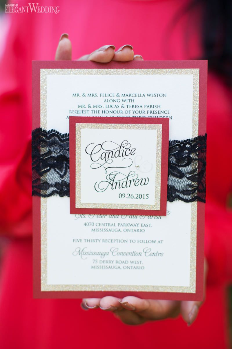Fall wedding stationery, wedding menu, red, black and gold wedding ...