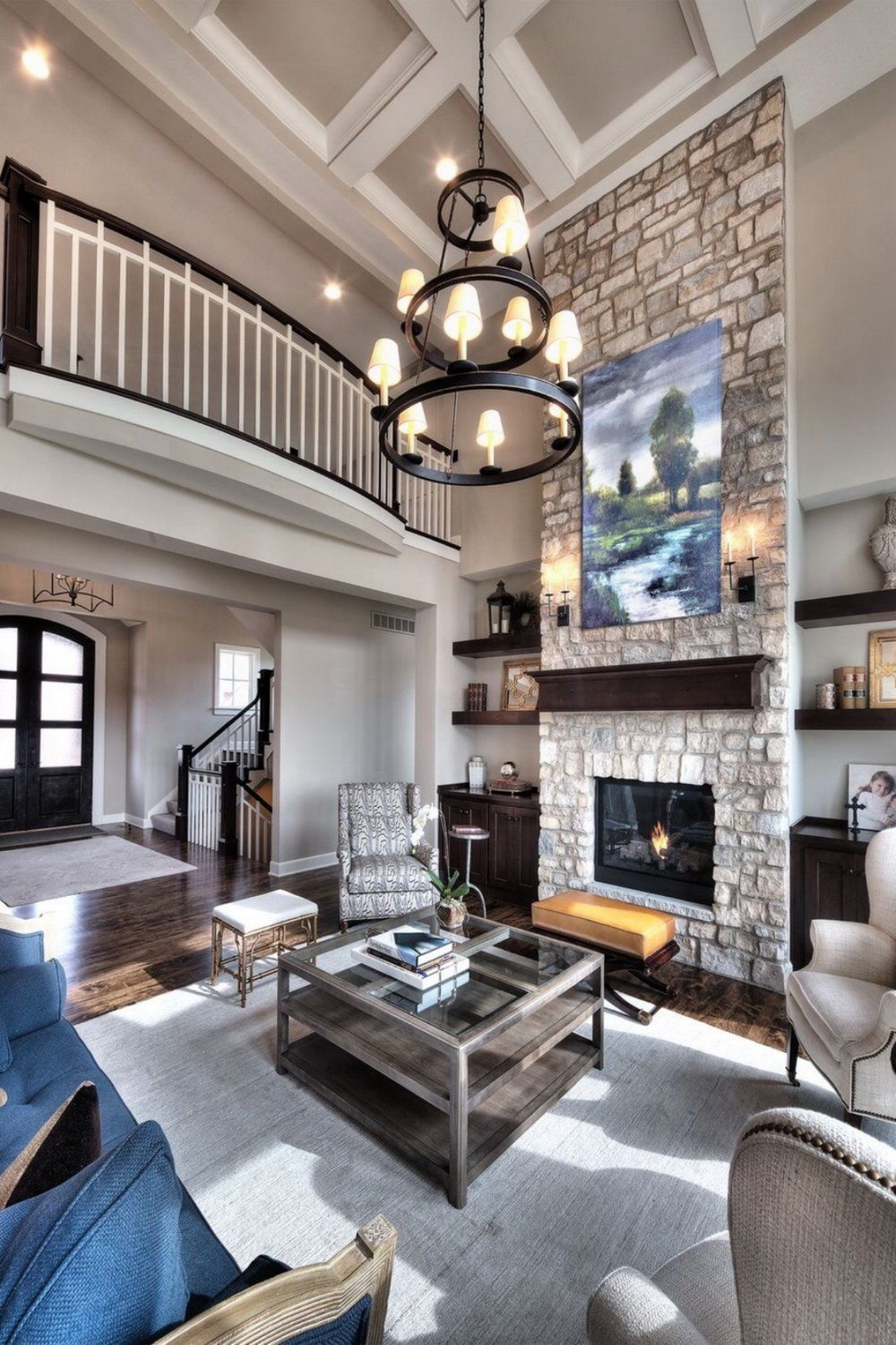 Great Room Open Floor Plan Floor To Ceiling Stone Firep