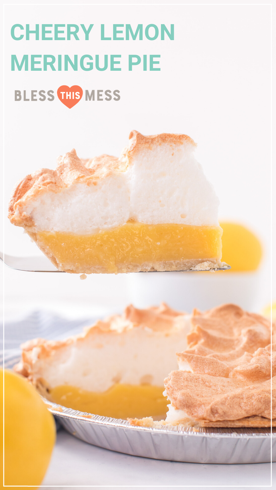 My bright and cheery lemon meringue pie has a tart, lemony custard inside with the fluffiest meringue topping. It's a perfect spring and summer time dessert! #lemonmeringuepie #homemadelemonmeringuepie #lemonmeringuepierecipe #lemonpie #pie #pierecipe #homemadepie