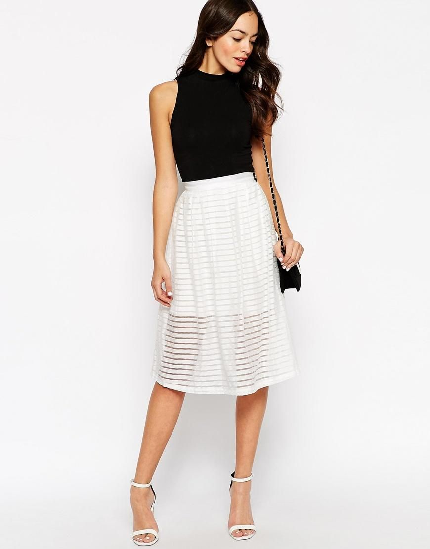 New look new look sheer stripe midi skirt at asos bonita inside