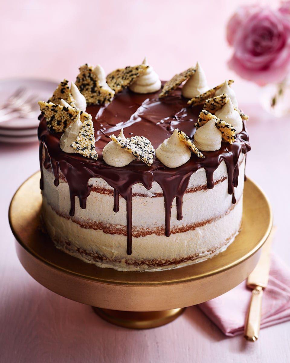 Caramelised white chocolate burnt butter and tahini cake