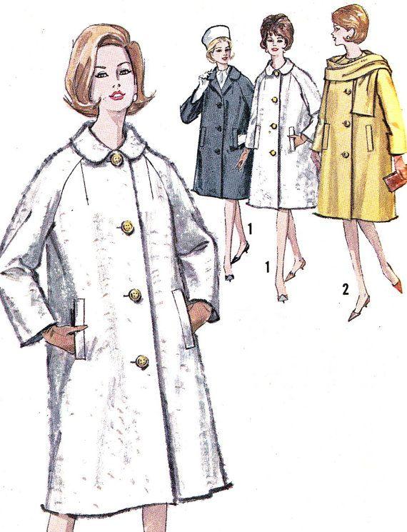 1960s Womens Coat Pattern Simplicity 5148 Front Button Raglan Sleeve ...